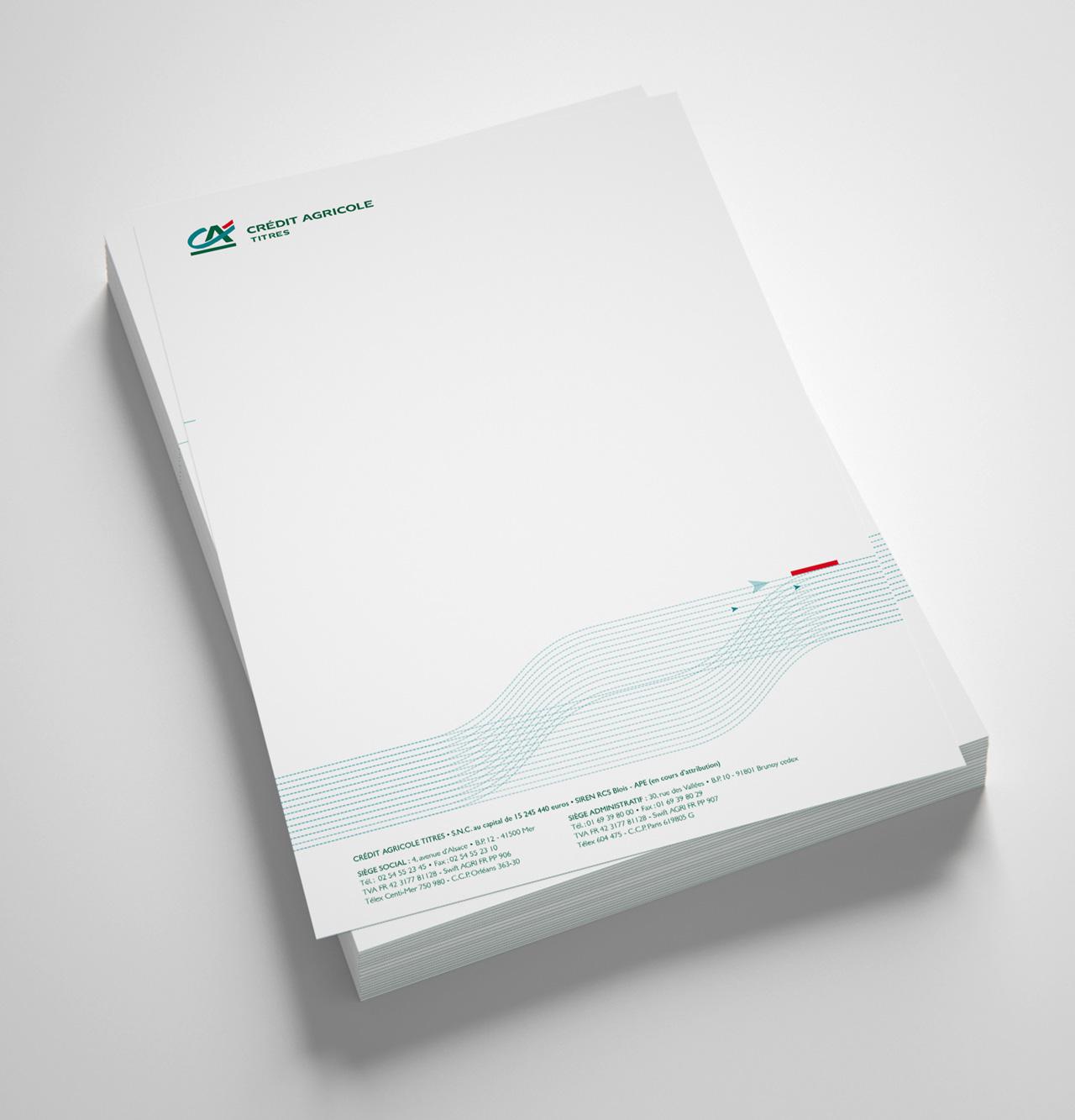 En tête de lettre Crédit Agricole Titres - Cmondada Design
