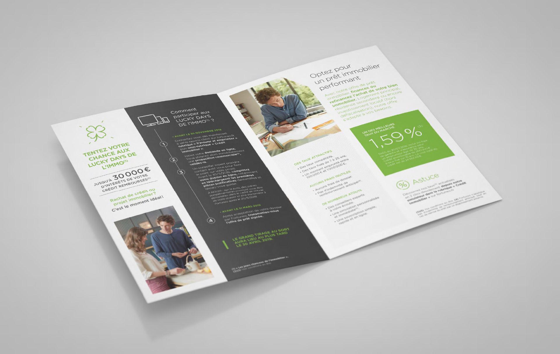 Marketing direct Crédit immobilier Fortuneo - intérieur - Cmondada Design
