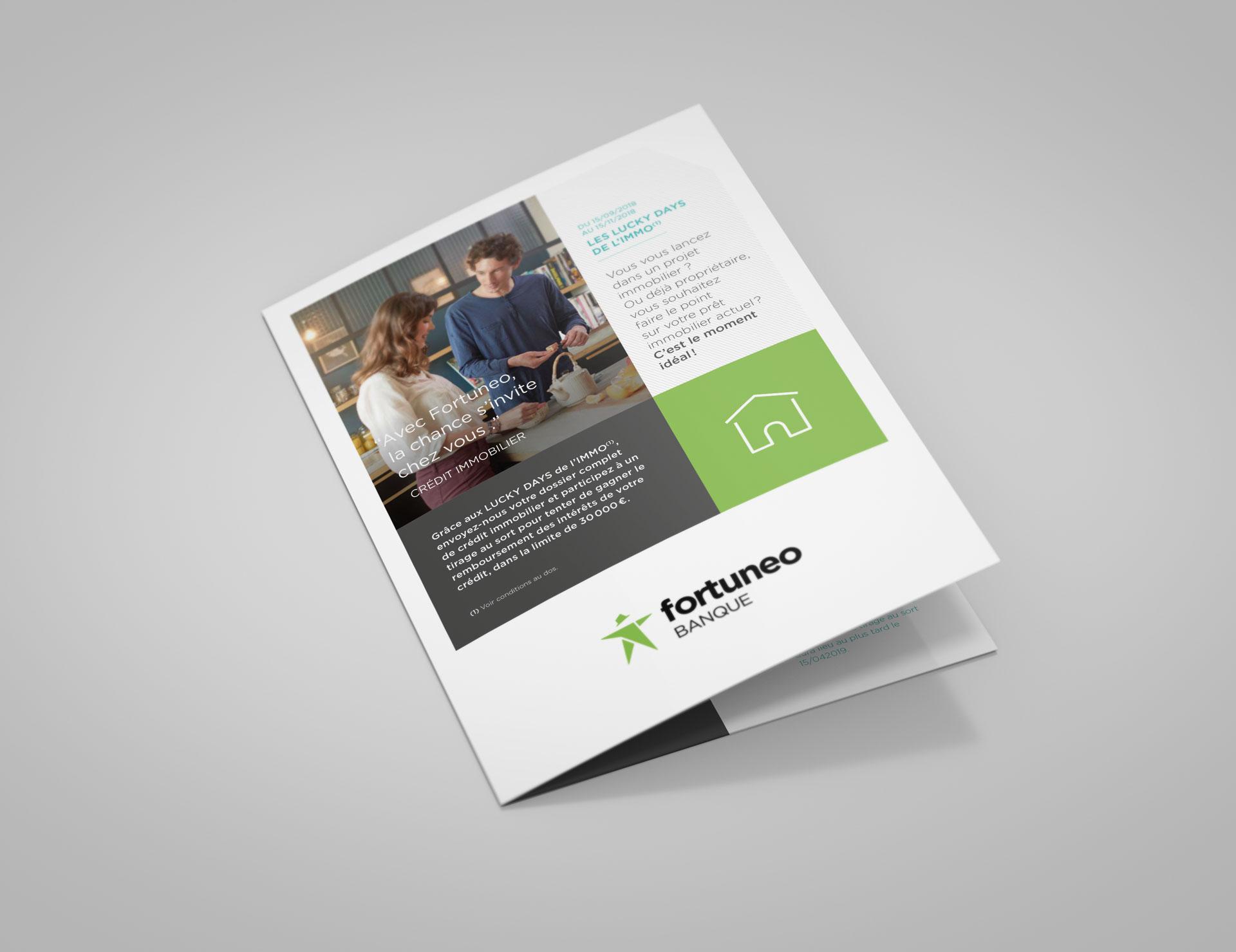 Marketing direct Crédit immobilier2 Fortuneo - couverture et dos - Cmondada Design