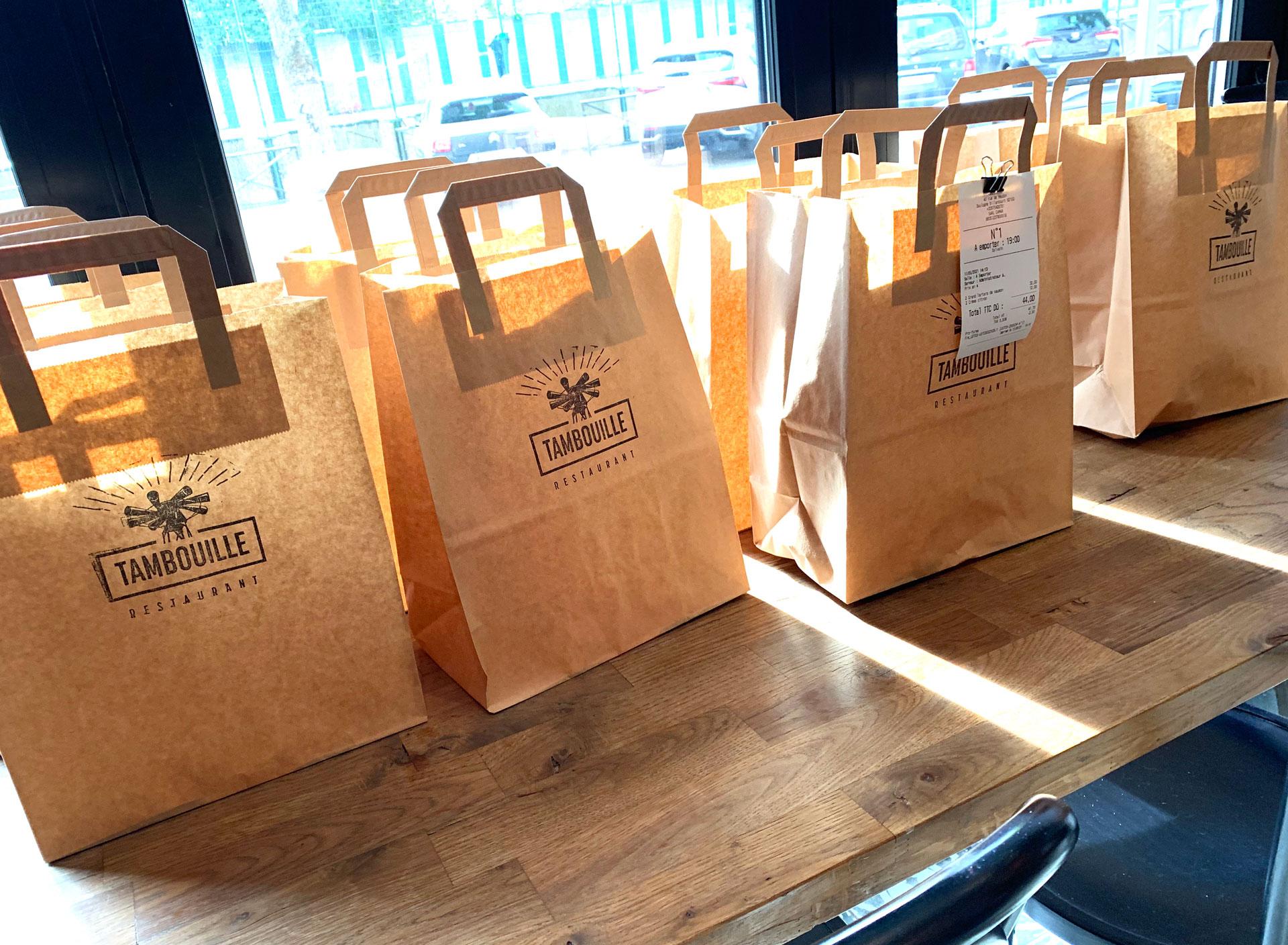 Tampon de marquage de sac de livraison Tambouille Restaurant
